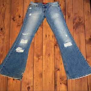 Hollister Destroyed Super Flare Mid-Rise Jeans